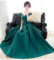 Elegant Green Off the Shoulder Autumn Winter Party Dress Slash Neck for Wedding Prom Evening GownLong Maxi Dress Club Vestidos