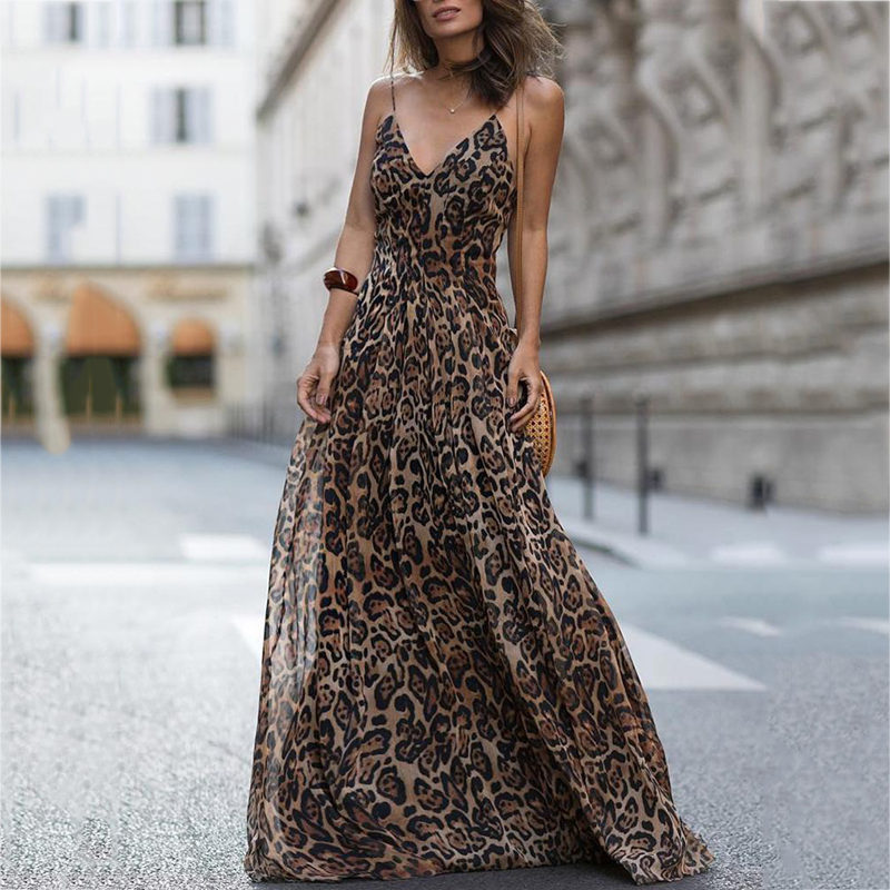 a709821c2c Detail Feedback Questions about Dropshipping 2018 New Summer New Arrival  Sexy leopard print Spaghetti Strap Maxi Dresses Sleeveless V neck on  Aliexpress.com ...