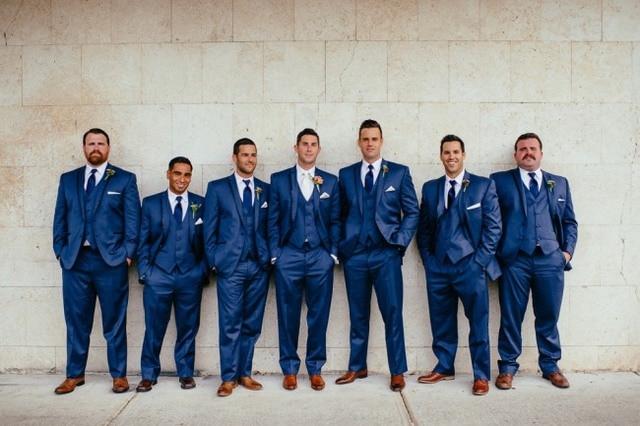 Latest Coat Pant Designs Navy Blue Men Wedding Suit Groomsmen Suits Skinny Tuxedo 3 Piece Style
