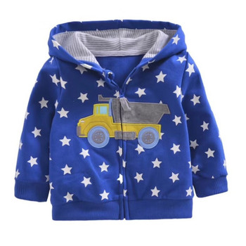 2018 baby boys girls hooded sweatshirts cotton cartoon tops truck flower whale out wear kids clothes for 9m-3years 1