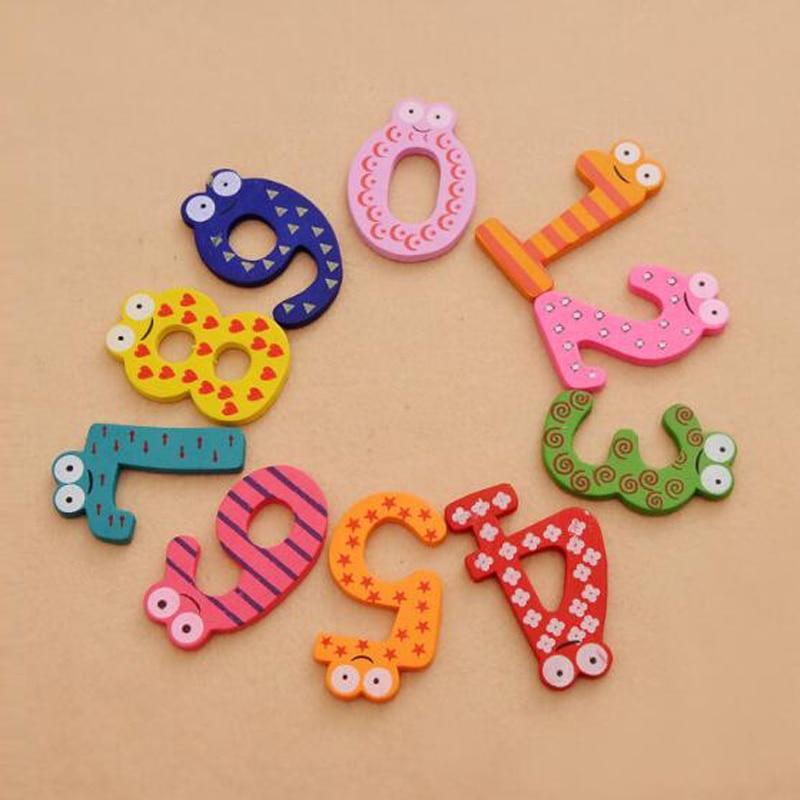 10 шт. холодильник цифровой магниты раннего обучения Развивающие игрушки деревянные Математика съемный для маленьких детей наклейки