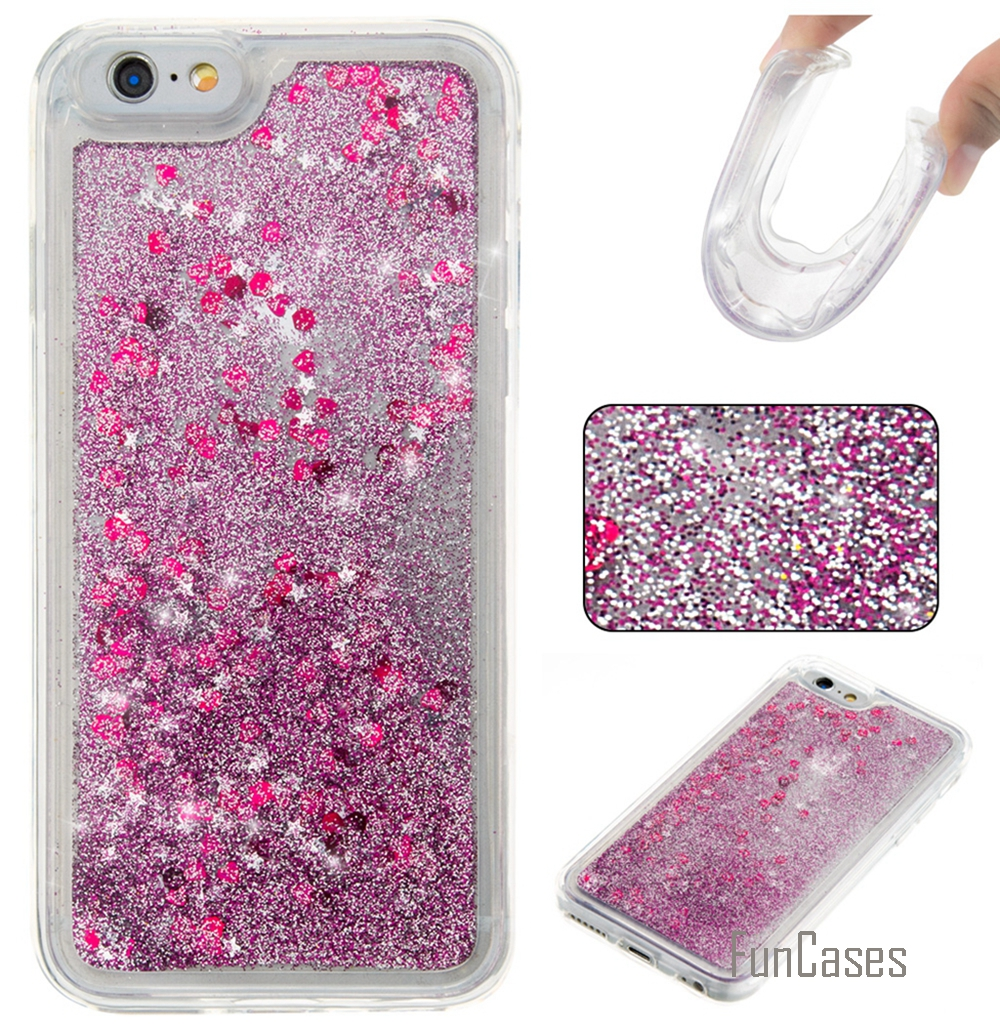 Coque Bling Love Heart Stars Soft TPU Mobile Phone Case Cover For iPhone 6S Funda Quicksand Cell Phone Case For iPhone 6S 6G *<