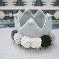 Coroa Bebê bonito Chapéus De Lã Chapéu de Malha de Algodão 4 Cores Em Stock Tamanho Livre 36 cm Kids Acessórios Presentes Montado Frete Grátis 1 pcs