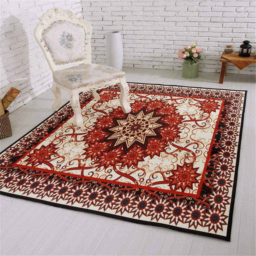 Vintage Advanced Luxury European Red Floral Pattern Non Slip Mat Rug  Cushion Carpet For Bathroom Toilet Living Room Floor Home