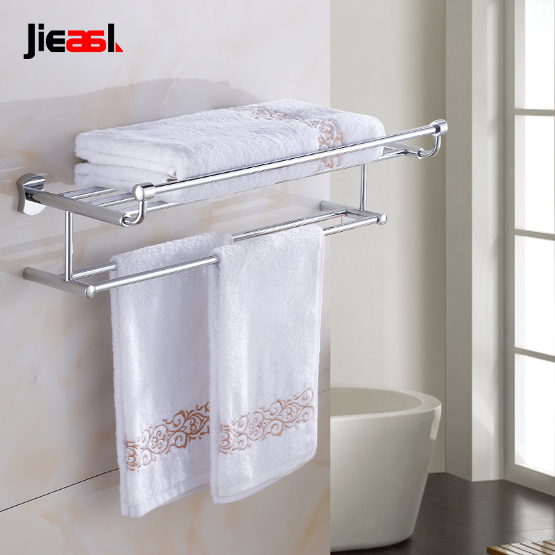 Jieshalang Bras Bathroom Towel Rack Shelf Wall Mounted Racks for Bath Accessory Bars Fasion Plated Double Towel Holder Chrome 62 partol black car roof rack cross bars roof luggage carrier cargo boxes bike rack 45kg 100lbs for honda pilot 2013 2014 2015