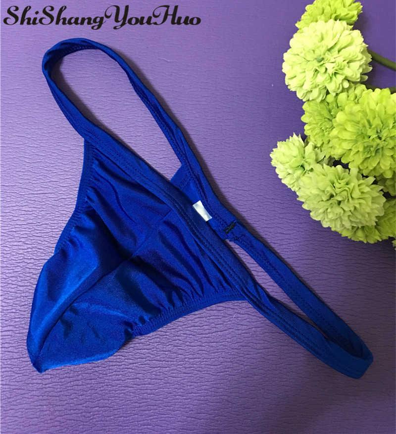 เซ็กซี่ยี่ห้อเกย์ Mens ชุดชั้นในกระเป๋าชุดชั้นในคุณภาพสูง T กลับ G String Thong Panty กางเกง NDA-1
