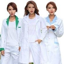 dbafb83c4 2018 Novo estilo de casaco branco longo-sleeved farmácia médico do sexo  feminino terno cintura