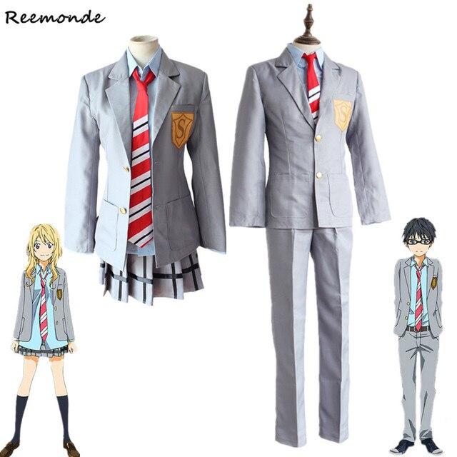 Uw Liggen In April Miyazono Kaori Cosplay Kostuums Arima Kousei Synthetische Pruiken Broek Jasje Rok Schooluniform Mannen Meisjes