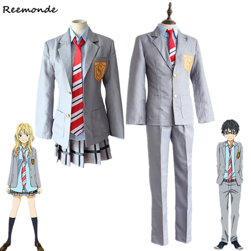 Your Lie In April Miyazono Kaori Cosplay Costumes Arima Kousei Synthetic Wigs Pants Coat Jacket Skirt School Uniform Men Girls