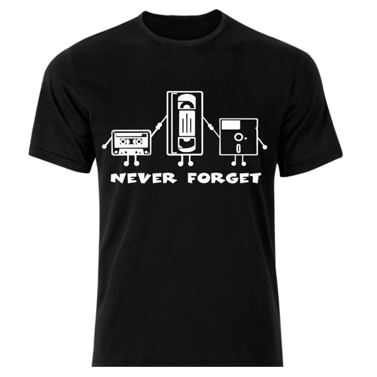 Never Forget VHS Tape Floppy Disk Funny T-Shirt Humor Joke Mens T-Shirt S - 3XL