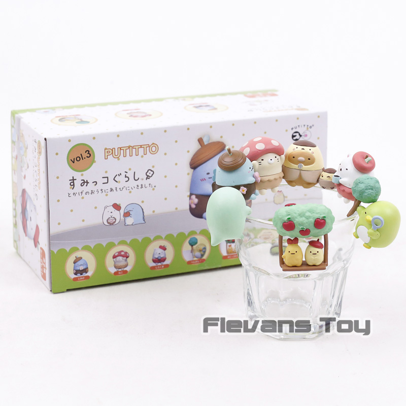 PUTITTO Sumikko Gurashi Shirokuma's Friend Cat Bear Penguin Mini PVC Figures Cup Decoration Toys Dolls 7pcs/set