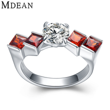 MDEAN Wedding Rings for Women Genuine 925 Sterling Silver Jewelry Solid Pure Ruby CZ Diamond Engagement Bague MSR471