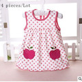 Free Shipping 4pcs/lot Baby girl Dresses Girls Infant Cotton Sleeveless Dress Summer baby dress