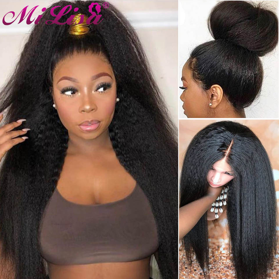 150 Density Kinky Straight Wig Glueless Lace Front Human Hair Wigs Full End Indian Lace Wig Yaki Human Hair Wig For Women MiLisa(China)