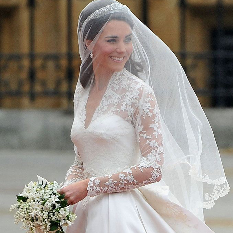 Real sample celebrity wedding dresses kate middleton princess real sample celebrity wedding dresses kate middleton princess modest conservative full sleeve lace bridal dress cathedral train in wedding dresses from junglespirit Image collections