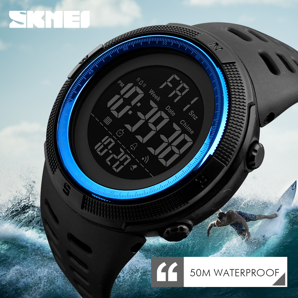 Men\'s Sport Watches Chrono Countdown Dual Time Wristwatches Men Waterproof Digital Watch Man military Clock Relogio Masculino