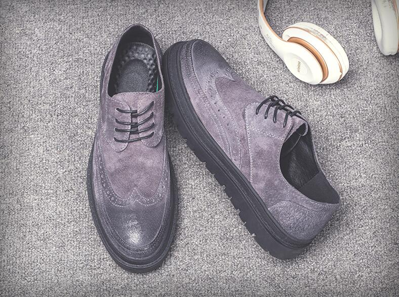 Shoes Men lace up genuine leather nubuck handmade flats smart casual dress shoes platform height increasing carved brogue shoes fashion genuine leather brogue shoes men spring new dress shoes formal shoes height increasing platform men shoes hot sale