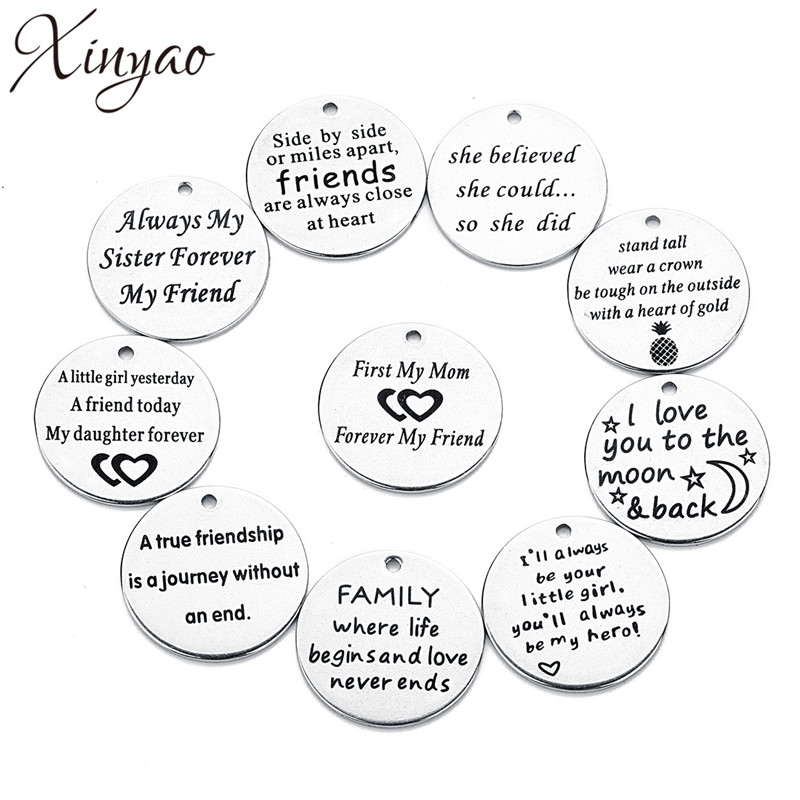 XINYAO 2018 5pc/lot Stainless Steel Dog Tags Silver Tone Pendants Stamping Tag Round Wor ...