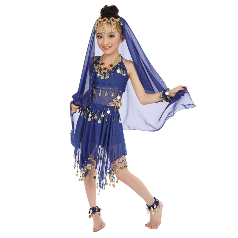 Bollywood Dance Costumes For Girls Belly Dance Children Indian Costume Set 6-pieces (Top+Skirt+Headpiece+Veil+Handchain+anklet)