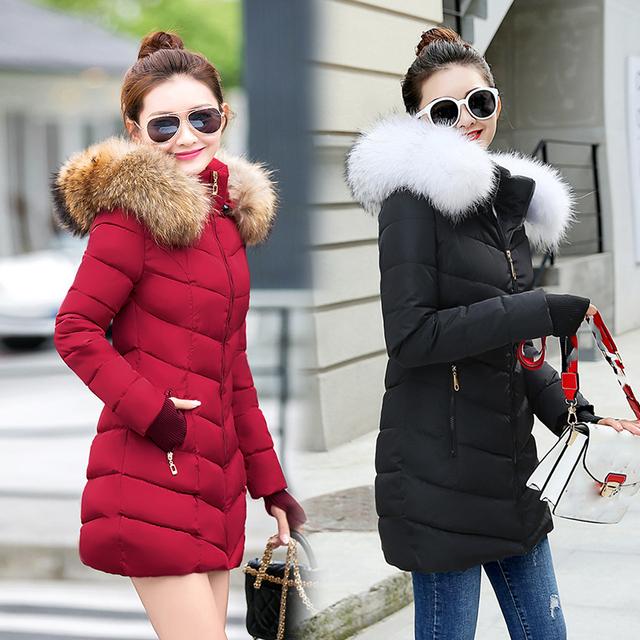 winter jacket women female coat 2019 woman parka long sleeve hood Slim keep Warm Fur collar white manteau femme hiver