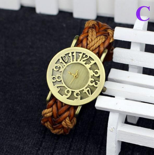 2016 Hot Fashion Leather Bracelet Watch Women Watches Vintage Braided Rope Band Quartz Wrist Watch 2016 women diamond watches steel band vintage bracelet watch high quality ladies quartz watch