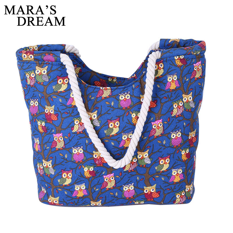 Maras Dream Fashion Women Shoulder Bag Canvas Printed Owl Beach Bag Candy Color Shopping Big Capacity Zipper Handbag Women