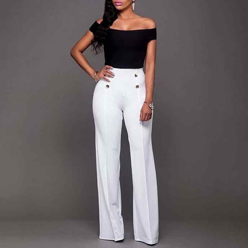 d0d01195982 2019 модные брюки Труба Длинные брюки Женщины Высокая талия Молния fly  широкие брюки тонкие брюки белый
