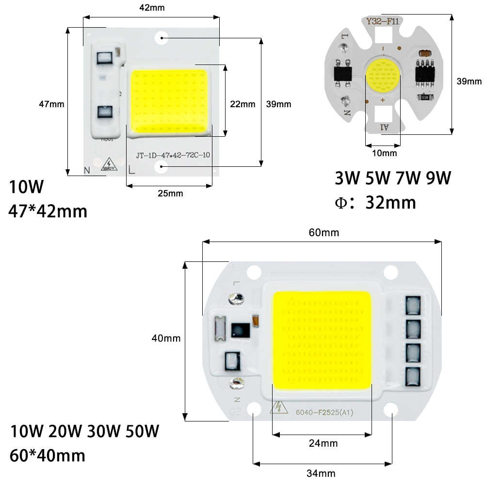 COB LED Chip Light 220V 10W 50W 20W 30W 3-9W rectangular Chip Lamp For Spotlight Led Floodlight Lamp Y27 Y32 Not Need Driver DIY