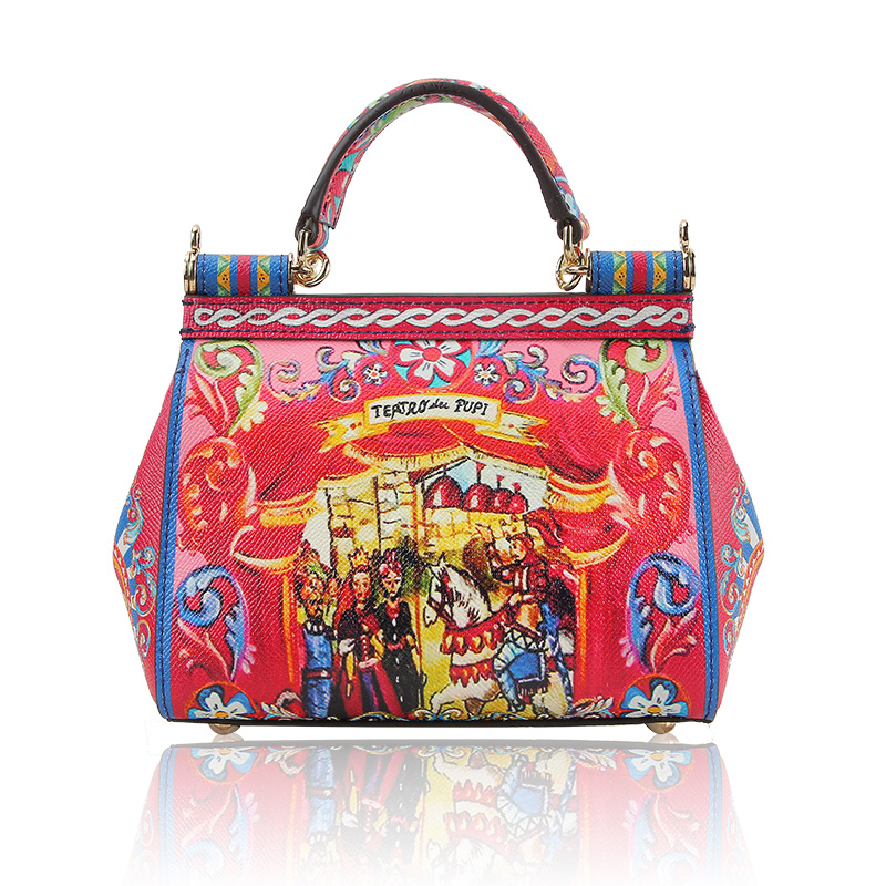 YCUSTBAG Luxury design Itay style Women Split Leather Handbags cm Graffiti Printing