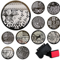 10 Pcs Stamp+Stamper+Scraper Stamping Kits Round Metal Plates DIY Nail Tools Fast Shipping