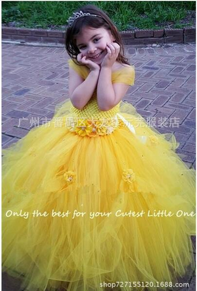 64e33f42bbfd4 Belle Princess Tutu Dress Baby Kids Fancy Party Christmas Halloween  Costumes Beauty Beast Cosplay Dress Flowers Girls Ball Gown-in Girls  Costumes from ...