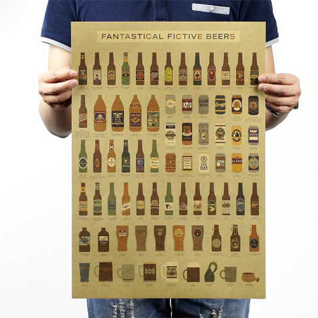 DCTOP Fashion Fantastical Fictive Beers Poster For Bar Vintage Wall ...