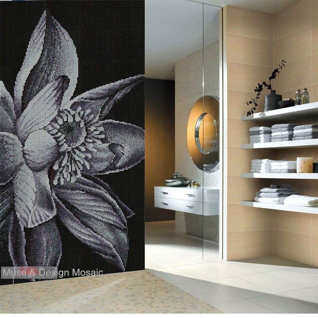 Custom Classic flor de loto mosaico de cerámica arte mosaico azulejo ...