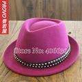Lana de invierno sentían Fedora sombreros mujeres Chapeau Feminino Fushia Trilby Jazz Caps mujer envío gratis PWFR-050