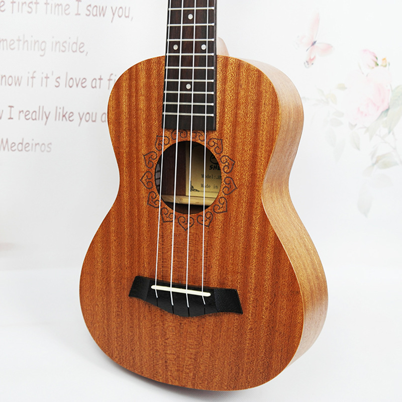 SevenAngel 23 Inch Mahogany Ukulele Concert Travel Guitar Hawaii 4 Strings Electric Acoustic Gitar with Pickup EQ 23ukulele concert mini hawai guitar mahogany body fishing bone pattern electric ukelele with pickup eq uku gitara