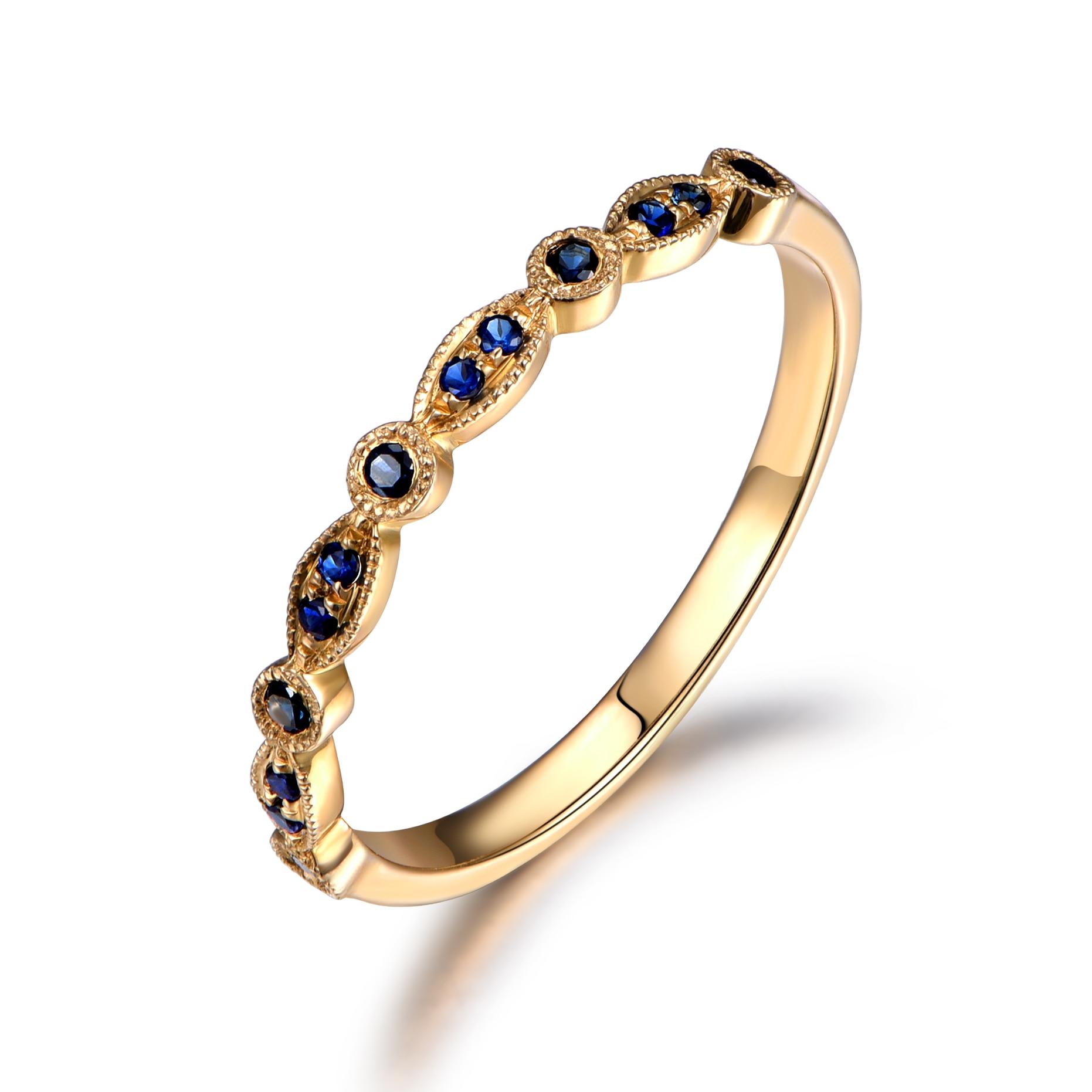 Myray 14k White Gold Wedding Band Blue Sapphire Wedding Band Pave Set  Natural Gemstone Ring Eternity