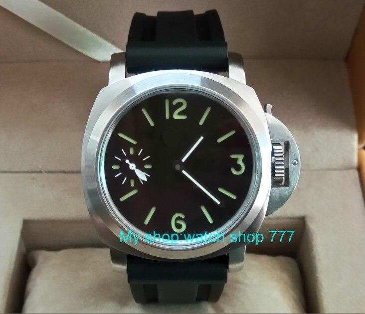 44mm parnis black dial Asian 6497 17 jewels Mechanical Hand Wind movement men's watch green luminous Mechanical watches p22