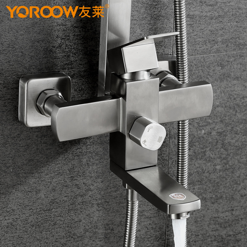 304 Stainless texture material bath freedom regulation hot and cold shower columnar type flower sprinkler shower and faucet - 3