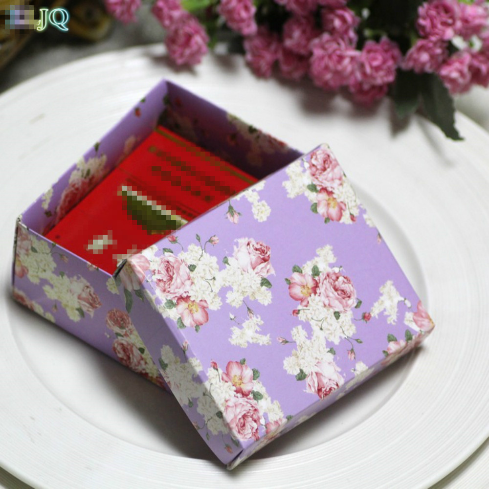 ZLJQ 50pcs Vintage Flower Pattern Candy Boxes Sweets Box Baby Shower ...