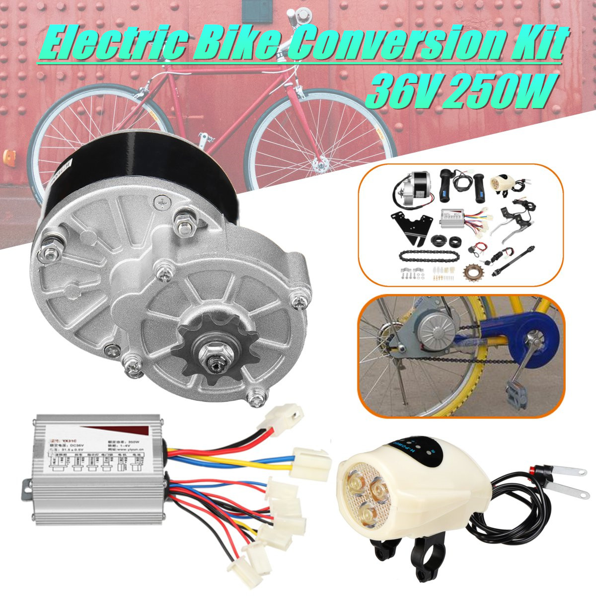 36V 250W Electric Bike Conversion Motor Controller Kit For 22-28 Common Bicycle my1016z2 dc 36v 250w diy 22 28 electric motors for bikes electric bike kit electric bike conversion kit