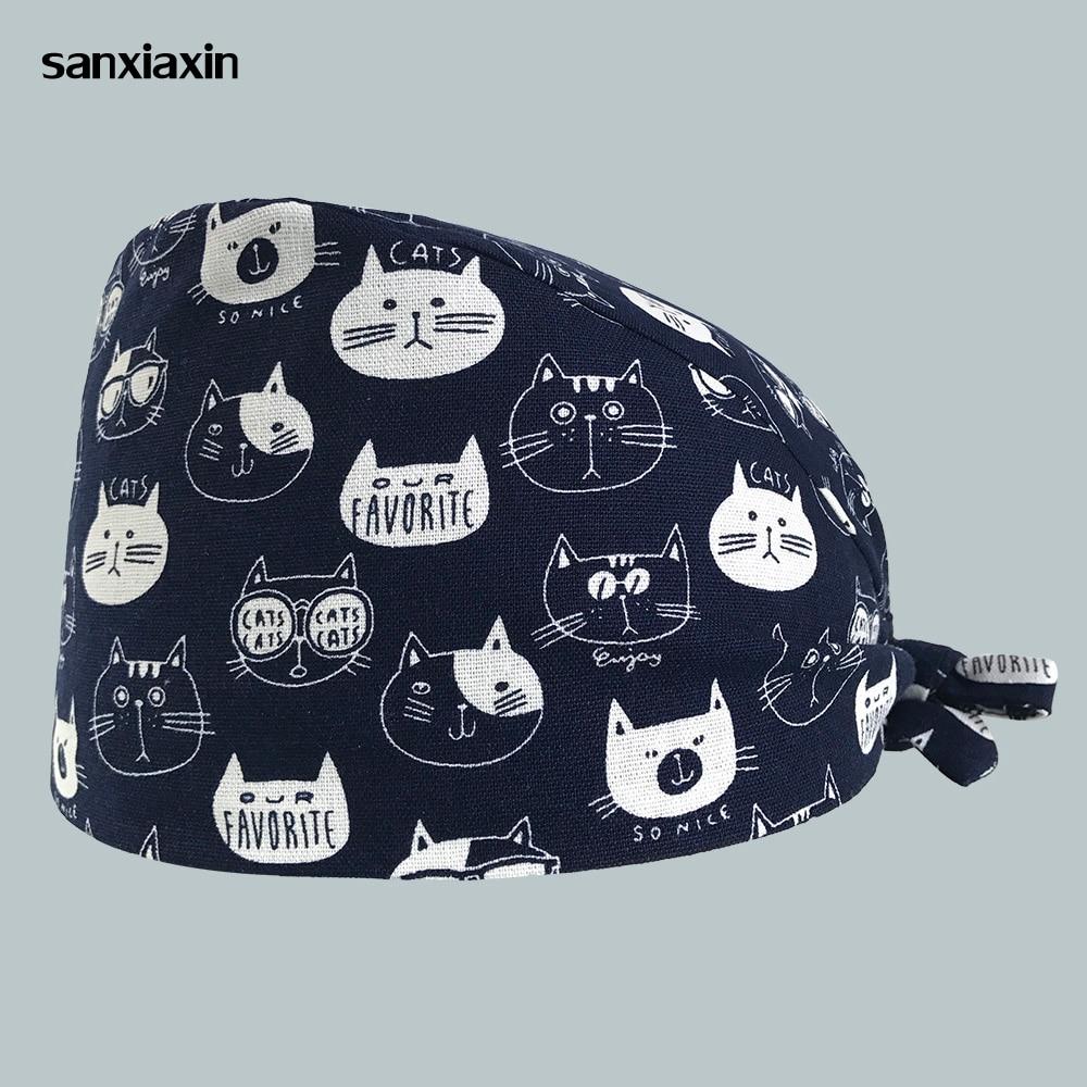 Unisex Pet Hospital Nurse Hats Spa Uniform Hat Cat Printing Beauty Salon Medical Surgery Caps Medical Scrubs Adjustable Pharmacy
