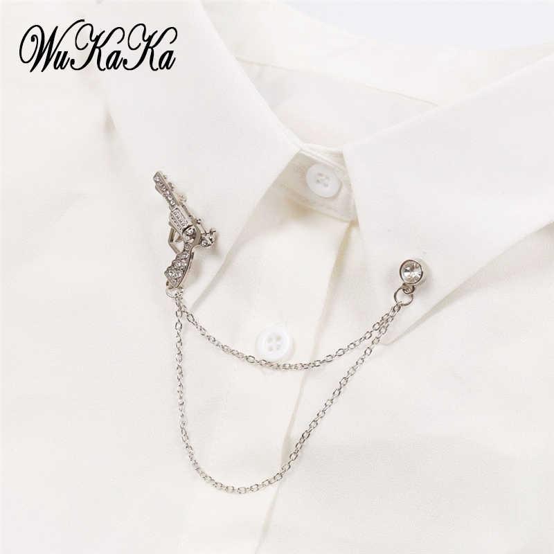 fbdd433e5a60 High grade Creativity Crystal Pistol Gun Men's Suit shirt Brooch Men  Jewelry Wedding party Angel Wing