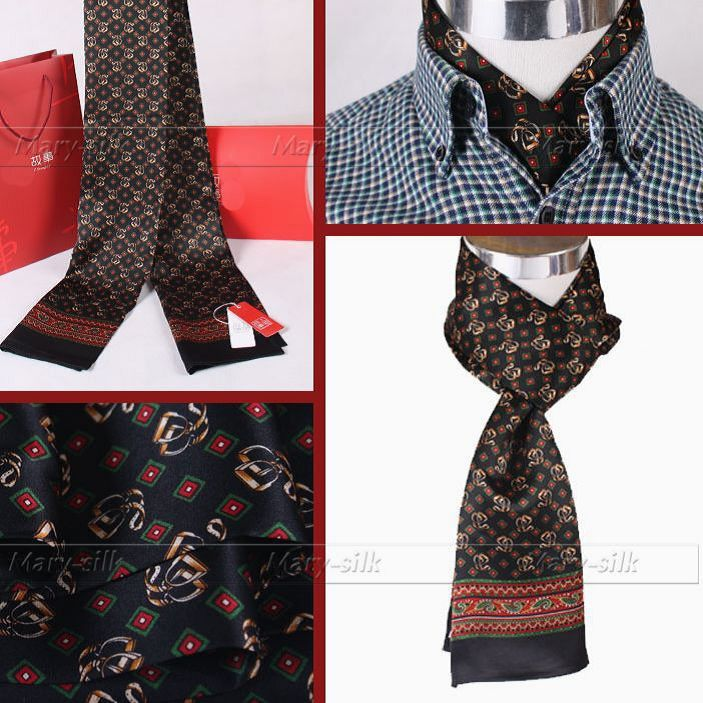 Модные брендовые мужские шелк длинный шарф галстук scarives Слои черный плед_ для Весна-осень-зима - Цвет: Black