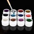 12 unids/set Glitter Shinning Color Sólido en polvo de Acrílico UV gel Consejos de Extensión Arte de Uñas de Gel Constructor DIY herramienta de la Manicura del envío gratis