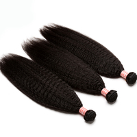 Kinky Straight Hair Brazilian 100% Human Hair Weave Bundles Natural Black Color 3 Piece Remy Hair Extension CARA Hair Products