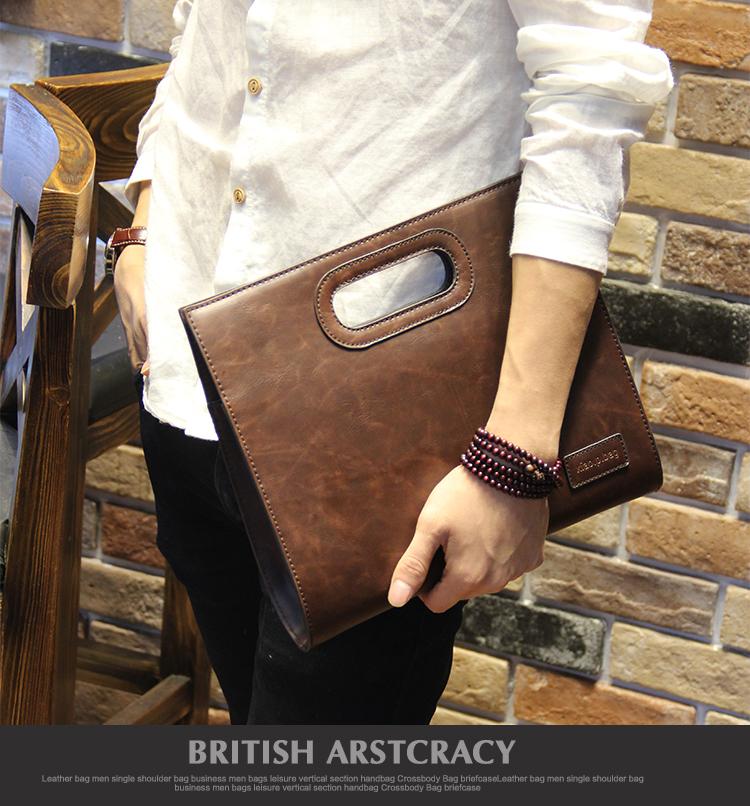 Business Casual Men Leather Designer Handbag High Quality Male Wallet Famous Brand Men's Large Capacity Clutch Bag Brown black 64