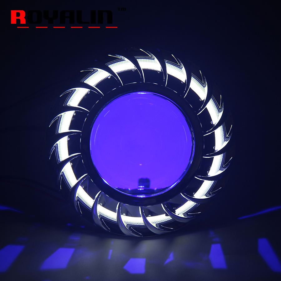 ROYALIN W2 Halogen Lens H1 for HID Bi Xenon Projector Headlight Lenses LED COB Angel Eyes White Demon Devil Eyes for H4 H7 Cars royalin car styling hid h1 bi xenon headlight projector lens 3 0 inch full metal w 360 devil eyes red blue for h4 h7 auto light
