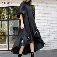 XITAO Tide Hollow Out Iron Ring Black Dress Irregular Patchwork Pleated Women Clothes 2019 Korean Turn Down Collar New DLL2975