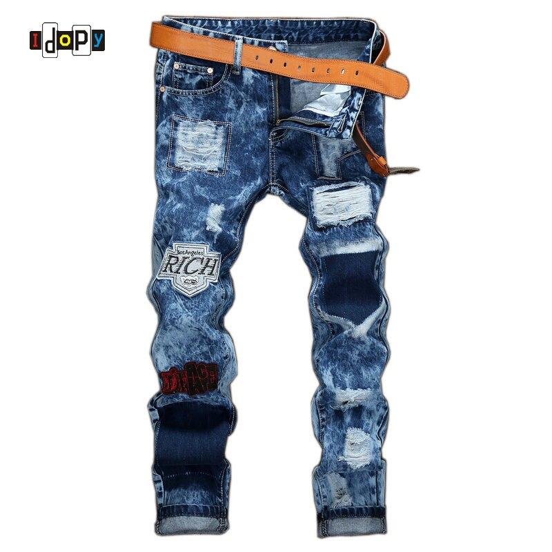 ФОТО  2017 New Men's Ripped Jeans Brand Designer Badge Patched Hip Hop Retro Vintage Washed Distressed Slim Fit Denim Pants For Men