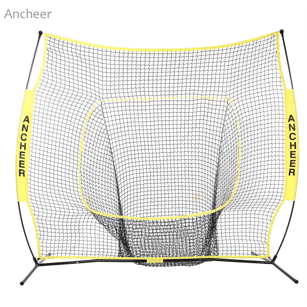 Durable 7 x 7ft Softball Baseball Practice Net with Bow Frame Compact Carrying Bag Softball Training Net Outdoor Training hockey net travel portable lacrosse pop up lax net for backyard shooting collapsible outdoor sport training foldable hockey goal